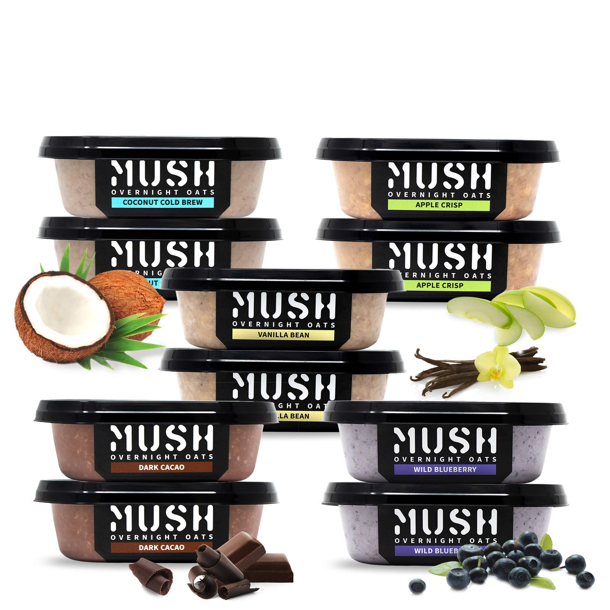 MUSH Overnight Oats Healthy Breakfast | Gluten-Free, Non-GMO, Dairy Free, Protein Rich, No Sugar | 10 Pack Oatmeal Cups| Wild Blueberry, Vanilla Bean, Dark Chocolate, Coffee + Coconut Cream, Apple Pie by MUSH RAW OVERNIGHT OATS MUSHED WITH LOVE SAN DIEGO, CA