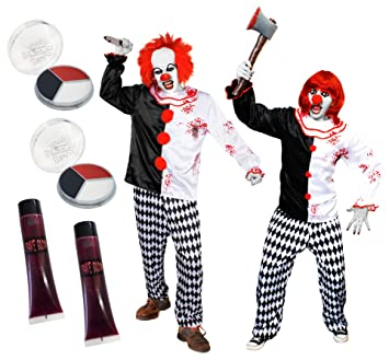 DELUXE KILLER CLOWN COUPLES HALLOWEEN COSTUME - COUPLES FANCY DRESS CLOWN COSTUMES WITH ACCESSORIES - FAKE  sc 1 st  Amazon UK & DELUXE KILLER CLOWN COUPLES HALLOWEEN COSTUME - COUPLES FANCY DRESS ...
