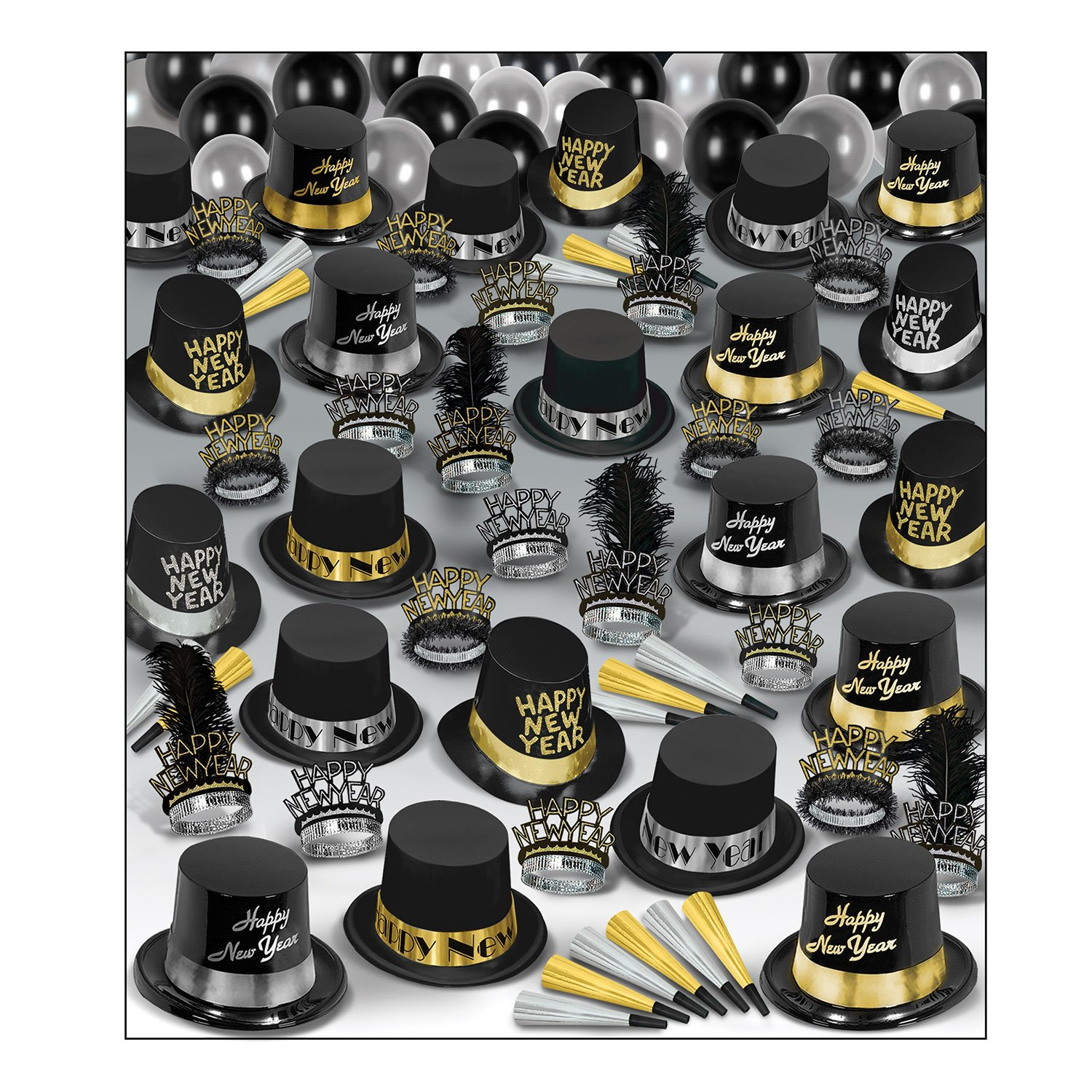 Beistle 88938-100 Silver Gold Super Deluxe Assortment for 100 People, Black/Silver/Gold by Beistle