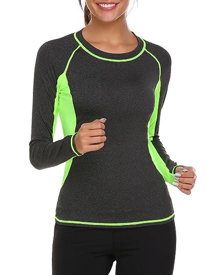 6d43cc59d472 Ekouaer Women痴 Long Sleeve Activewear Tunic Hooded T Shirts Fast  Dry(Black