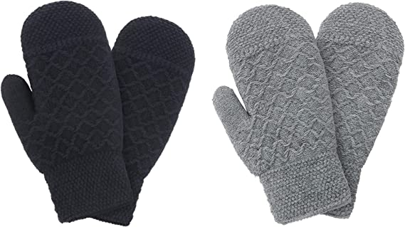 Knit Mittens Women's Winter Snowflake Sherpa Lined Mittens, 2 Pairs,  Black/Gery at Amazon Women's Clothing store
