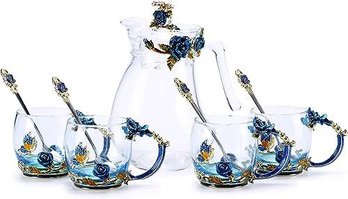 Kpcuisite Tea Cup Coffee Mug Glasses Cup & Spoon