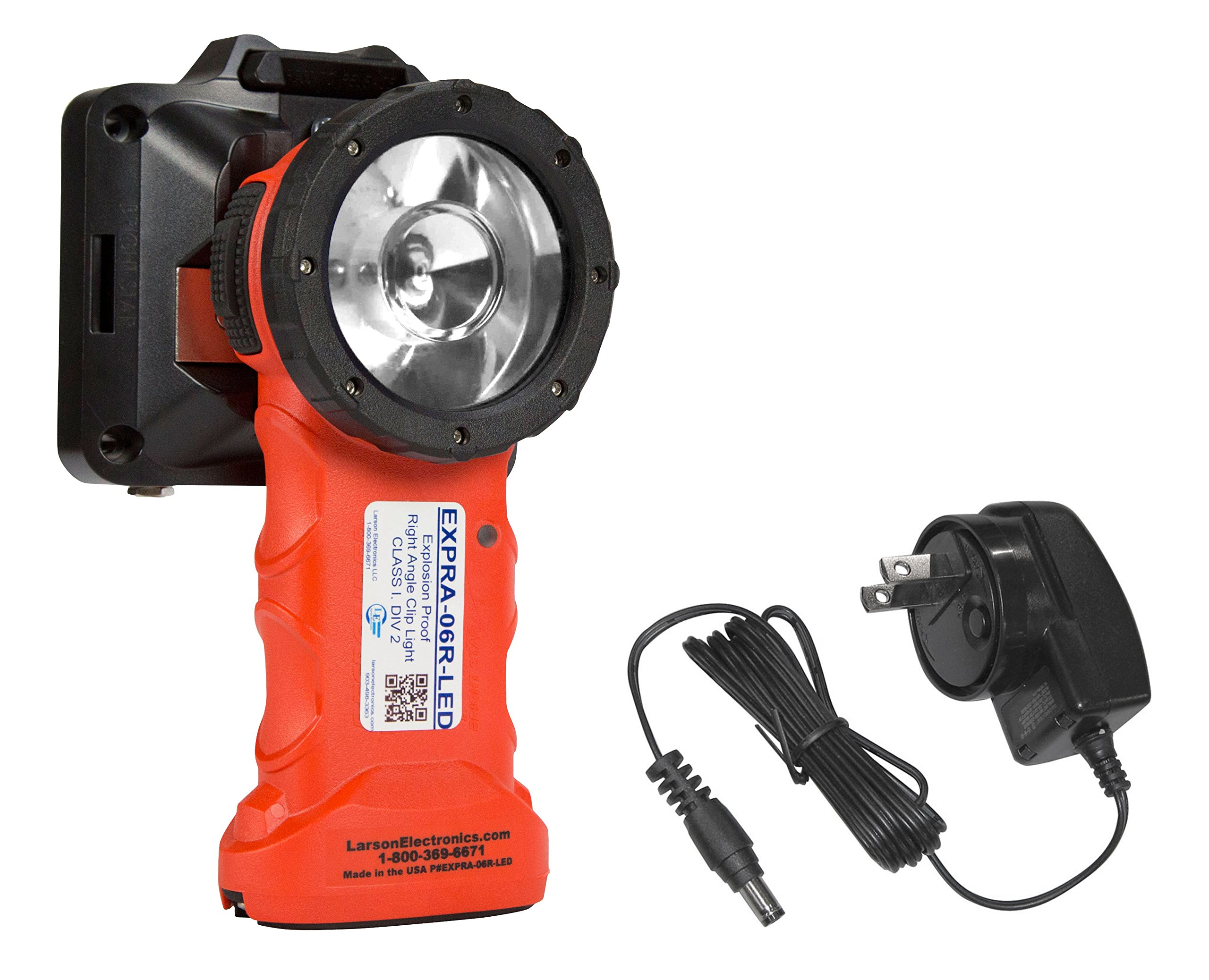 Rechargeable Explosion Proof LED Right Angle Clip Light - Class 1 Div 1 Groups C & D - Made in USA