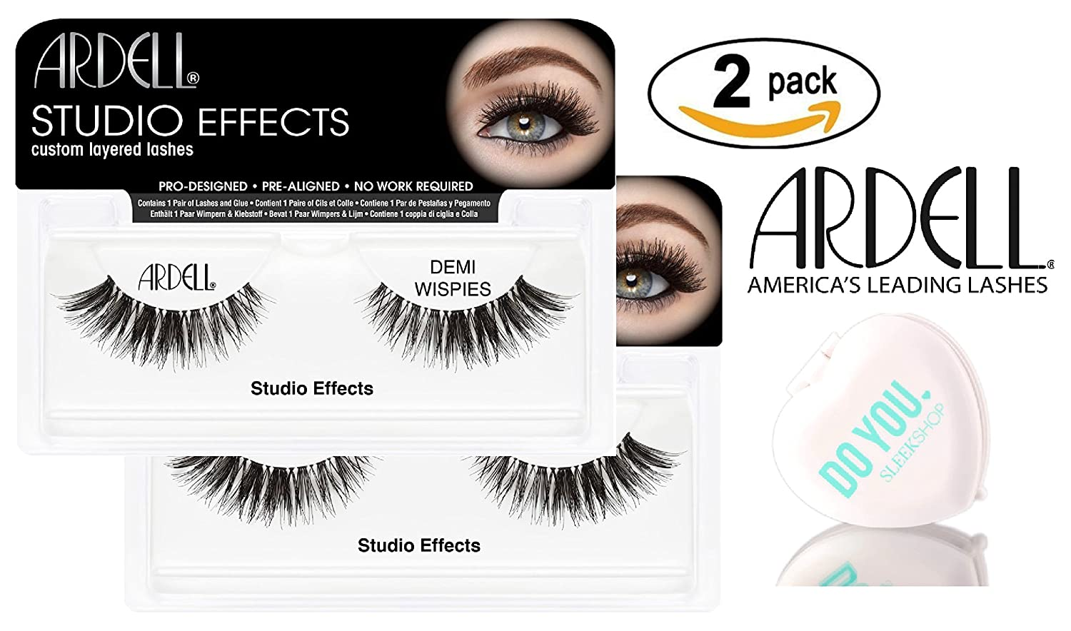 c3ae329f55b Amazon.com : Ardell Professional STUDIO EFFECTS Custom Layered Lashes,  2-pack (with Sleek Compact Mirror) (Demi Wispies (2-pack)) : Beauty