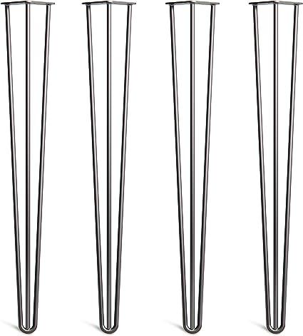 Set di 4 Gambe A Forcina Per Tavolo Include Viti Guida E Piedini Protezione Gratuiti In Tutte Le Finiture Da 10 A 86cm Stile Moderno Retr/ò Met/à Novecento Robuste In Acciaio 10mm Doppie Saldature