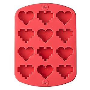 Wilton 2115-4374 Rosanna Pansino Silicone 8 16 Bit Heart Mold, Assorted