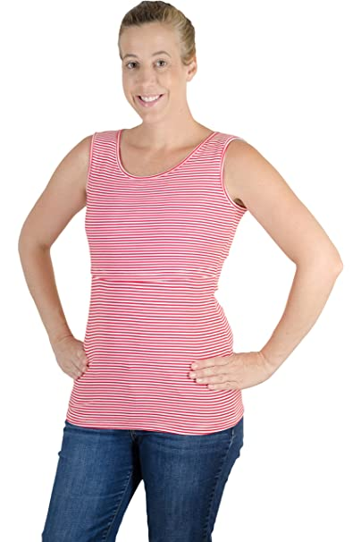 cf1dc5ed659 Latched Mama Women's Striped Nursing Tank Top Small Red/White ...