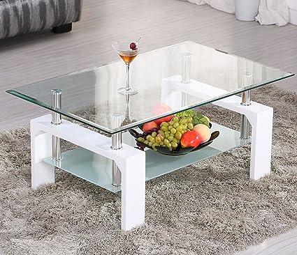 Amazon Com Eight24hours White Rectangular Glass Coffee Table Shelf
