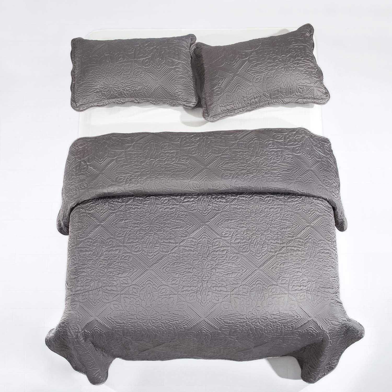 Yorkshire Bedding Elegant Quilted Bedspread Bed Throw Comforter Set Bedroom Decor Quilt 2 Pillow Shams Godiva Beige, Double