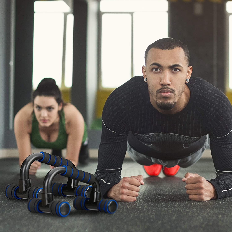 Workout f/ür Krafttraining Stand Bar Sportgriffe relaxdays Liegest/ützgriffe 2er Set Fitnessger/ät