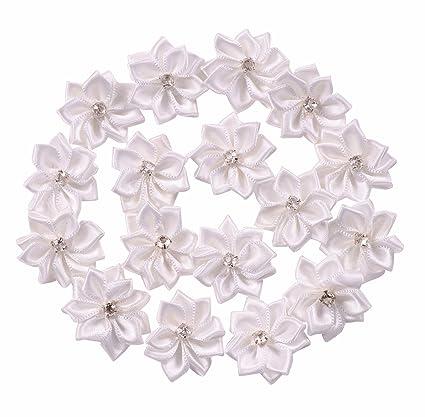 Amazon yaka 60pcs white satin ribbon flowers bows rose w yaka 60pcs white satin ribbon flowers bows rose wrhinestone appliques craft wedding 11inch mightylinksfo