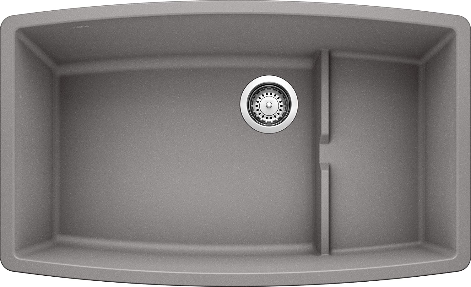 BLANCO 440067 PERFORMA Cascade SILGRANIT Undermount Single Bowl Kitchen Sink, 80 Granite, Metallic Gray