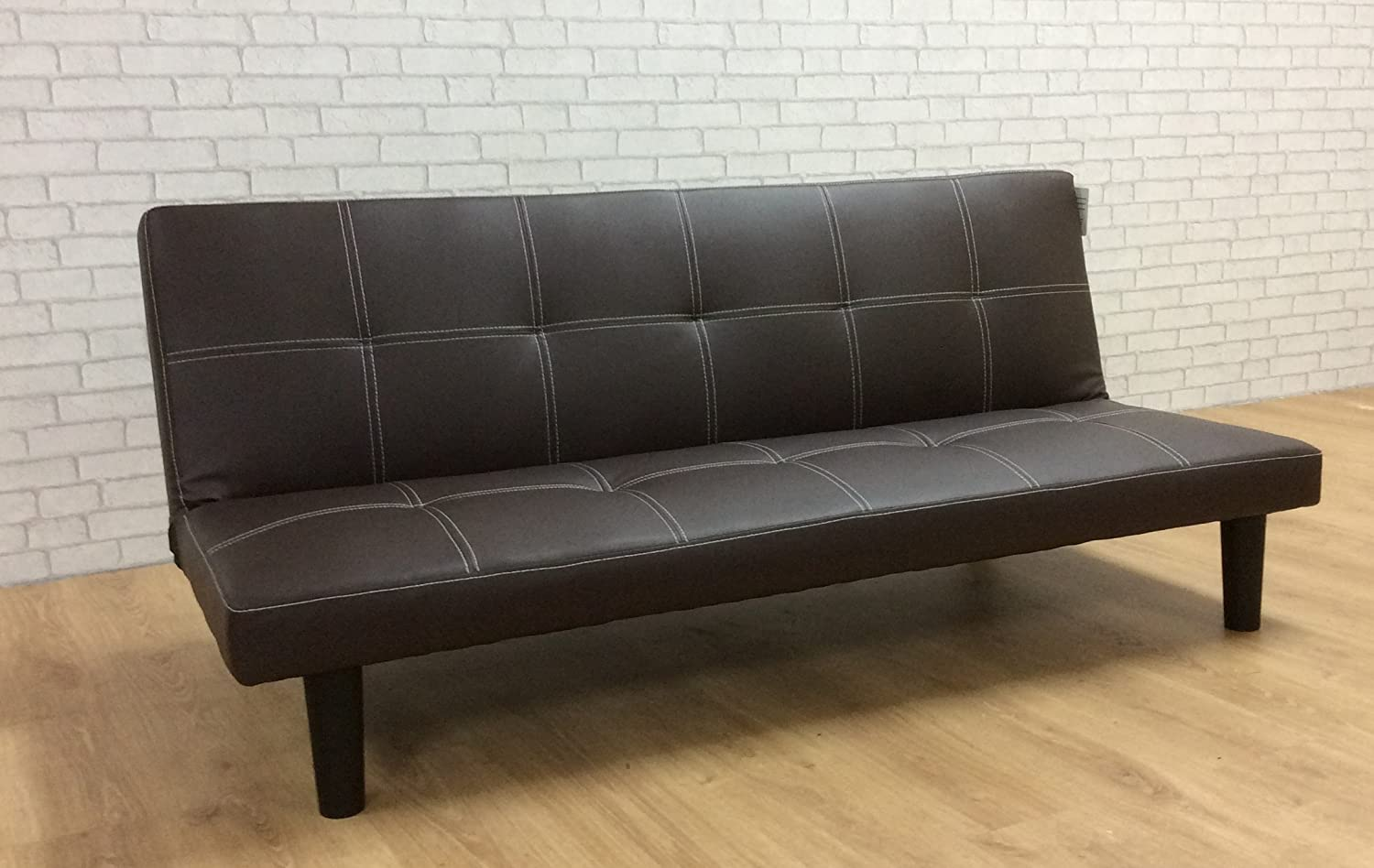 Comfy Living Single Faux Leather Sofa Bed in Dark Brown Spencer Sofabed