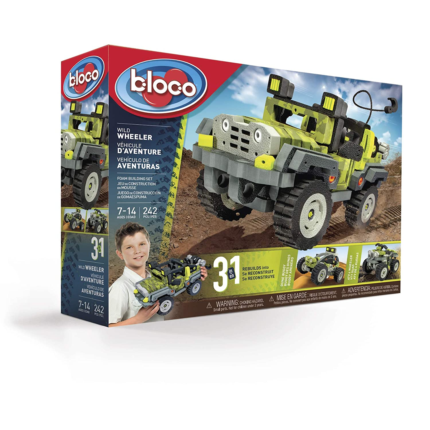 Amazon.com: Bloco Toys BC-35004 Wild Wheeler, 3 in 1 Jeep, ATV, and Dune Buggy Building Kit Toy, Green/Black Yellow/Grey: Toys & Games