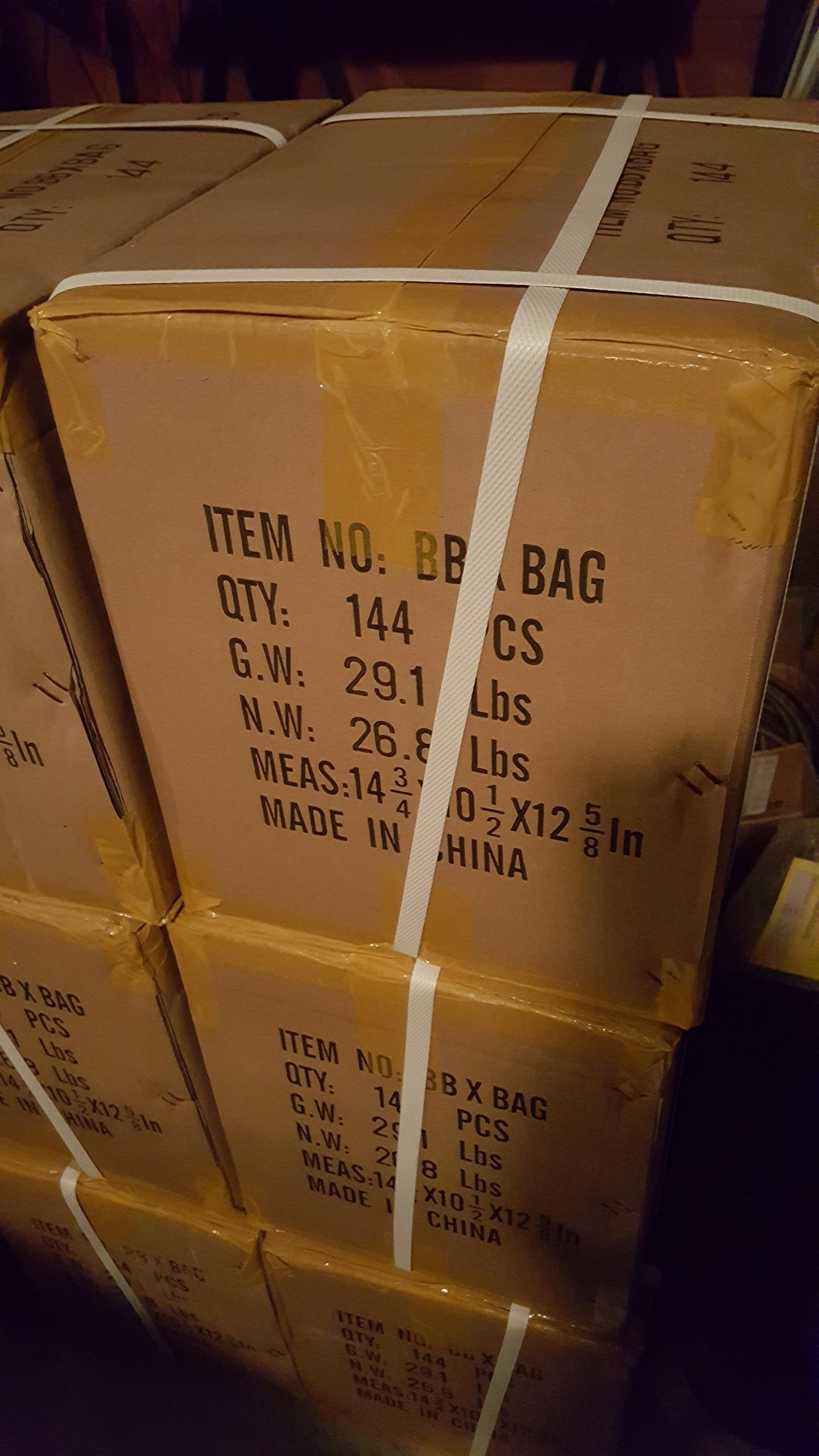 UKArms BBXBAG Full Case, 0.12g 6mm BBs, 850 Rounds per Polybag, 144 Polybags per Case, Mixed Colors, 122400 BBs Total
