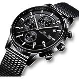 Reloj Hombres Relojes de Pulsera Militar Deportivo Impermeable Cronógrafo Luminosos Relojes de Acero Inoxidable Malla Lujo Calendario Analógico