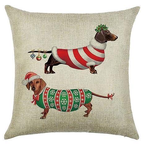 MAYUAN520 Cojines Navidad Funda De Cojín Perro Perro Mascota ...