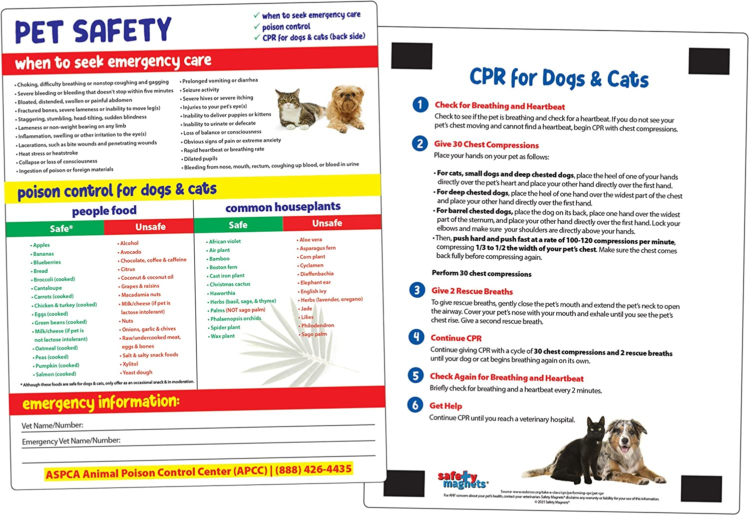 Poison Safety & CPR for Dogs and Cats Chart - Food and Plants Toxic to Cats and Dogs Kitchen Magnet - Animal Safety Magnet - CPR for Pets - Emergency Chart for Pets - 8.5 inches x 11 inches