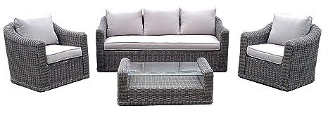 Incanto mesa de jardín aluminio y exterior de piel Rattan un ...