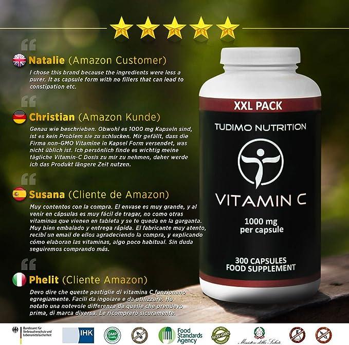 Vitamina C 1000 mg – 300 pzas (10 Meses de provisión) de Cápsulas ...