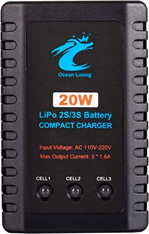 Ocean Loong OL-3 Airsoft Lipo Charger, 2-3 Cells 20W Li-Po Charger for Airsoft & RC Car 7.4V / 11.1V Battery Packs with 1.6A Output, 2S to 3S XH Connector