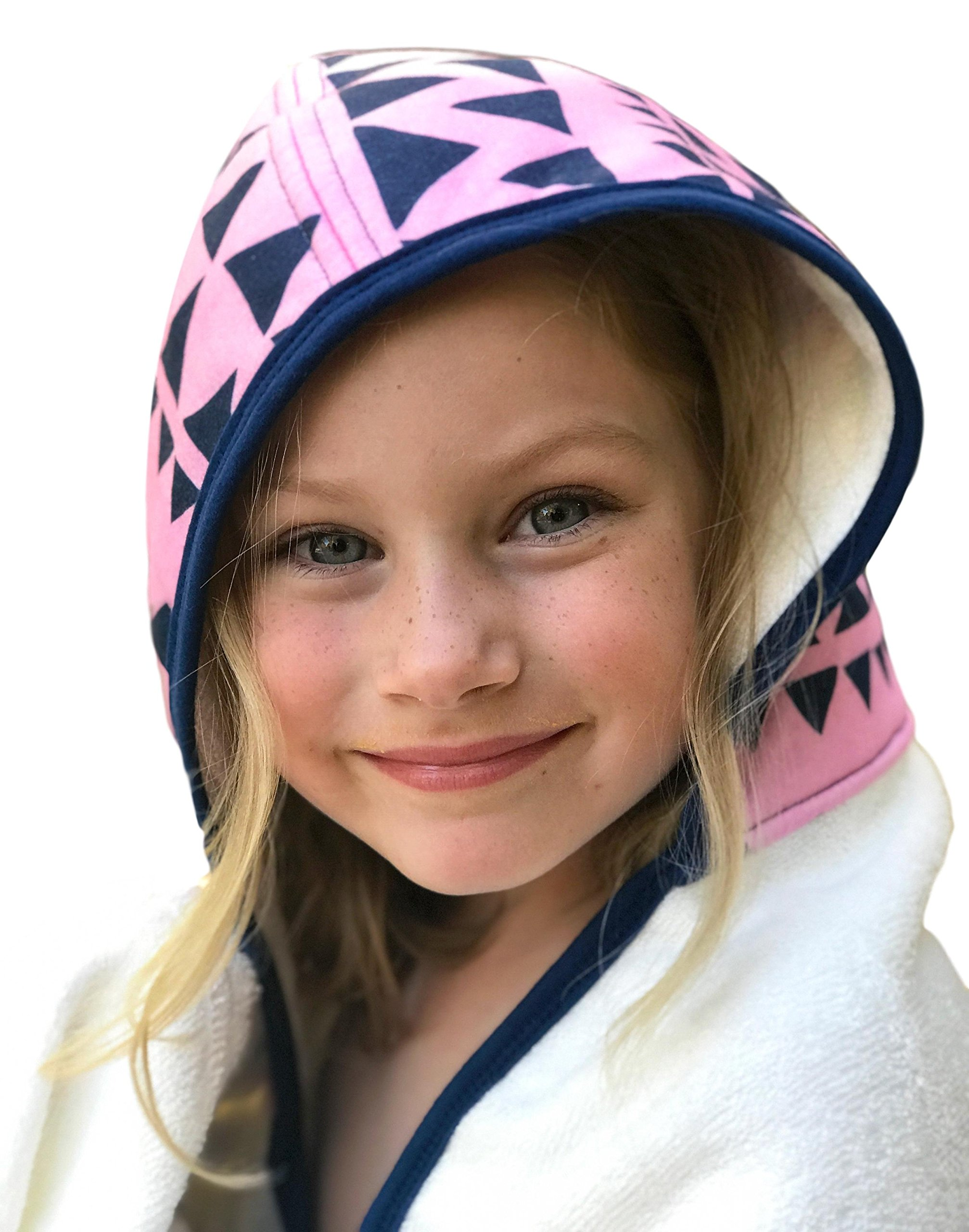Kids Hooded Bath Towel | Extra Soft & Thick 500 GSM Bamboo Terry | Hypoallergenic & Eco-Friendly | Extra Large Toddler to Kids Bath Towel with Hood for Girls After Bath, Beach, Pool, or Swim by Land of the Wee