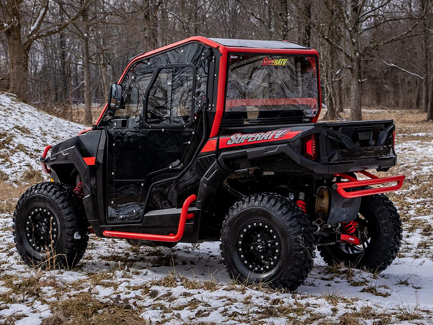 Pair of Heavy Duty Front Doors SuperATV Scratch Resistant Full Cab Doors for Polaris General 2016+ - Includes Side View Mirrors