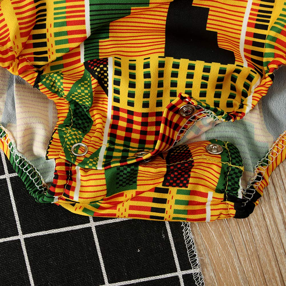 YOUNGER TREE African Dresses for Girls Toddler Kids Print Sleeveless Romper Bodysuit Boho Clothes Hair Band