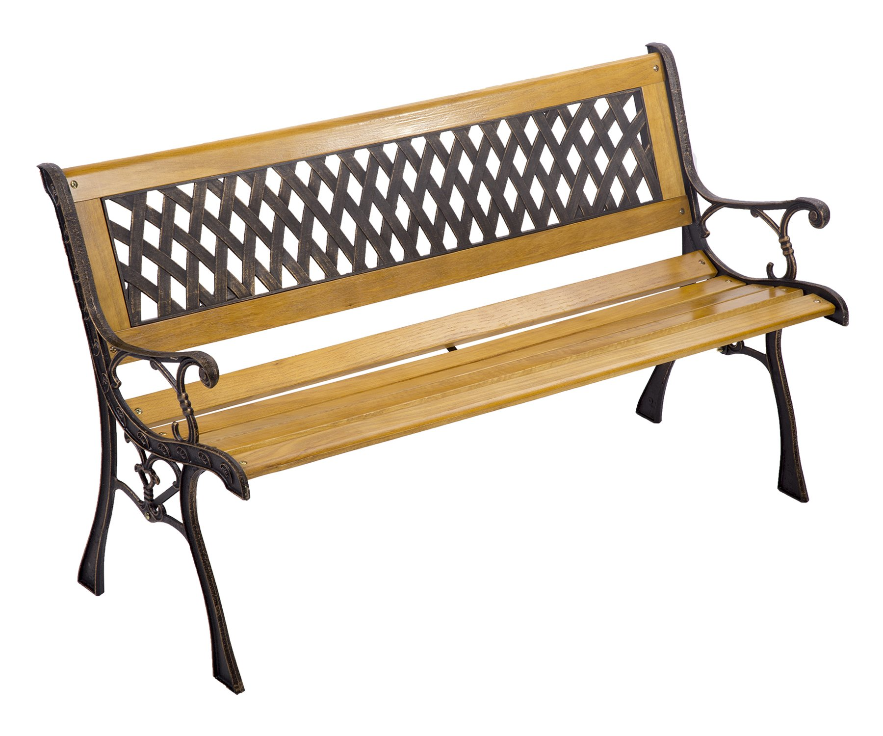 Garden Bench Patio Porch Chair Deck Hardwood Cast Iron Love Seat Best Massage by BMS (Image #1)