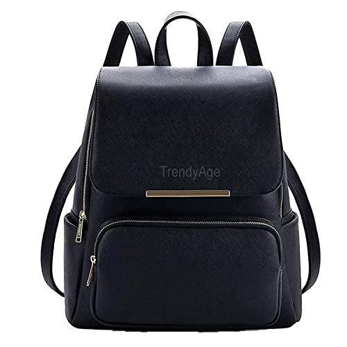 4c63e75192f0 TrendyAge Girl s Metal Flap Black Leather Backpack  Amazon.in  Shoes    Handbags