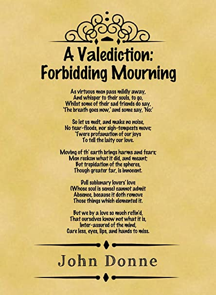 A4 Size Parchment Poster Classic Poem John Donne A Valediction Forbidding Mourning Part One Amazoncouk Kitchen Home