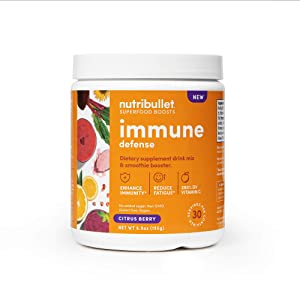 NutriBullet Superfood Boosts Immune Defense (with adaptogenic rishi mushrooms, vitamin C, Zinc, Echinacea), Citrus Berry, 30 Serving Tub