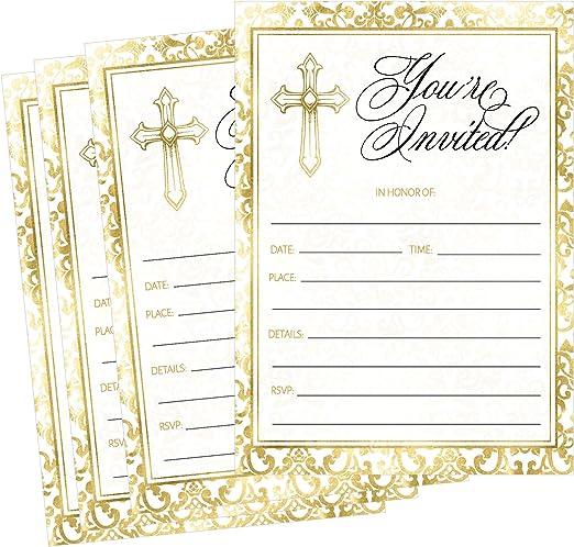 Amazon.com: 50 oro religioso invitaciones, confirmación ...
