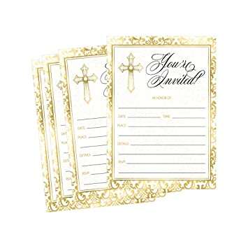 Amazoncom 50 Gold Religious Invitations Confirmation Holy