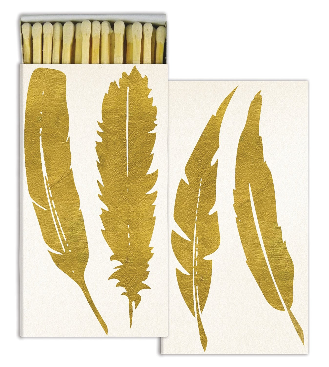Feathers Gold Foil Decorative Match Boxes with Wooden Matches (Set of 10)