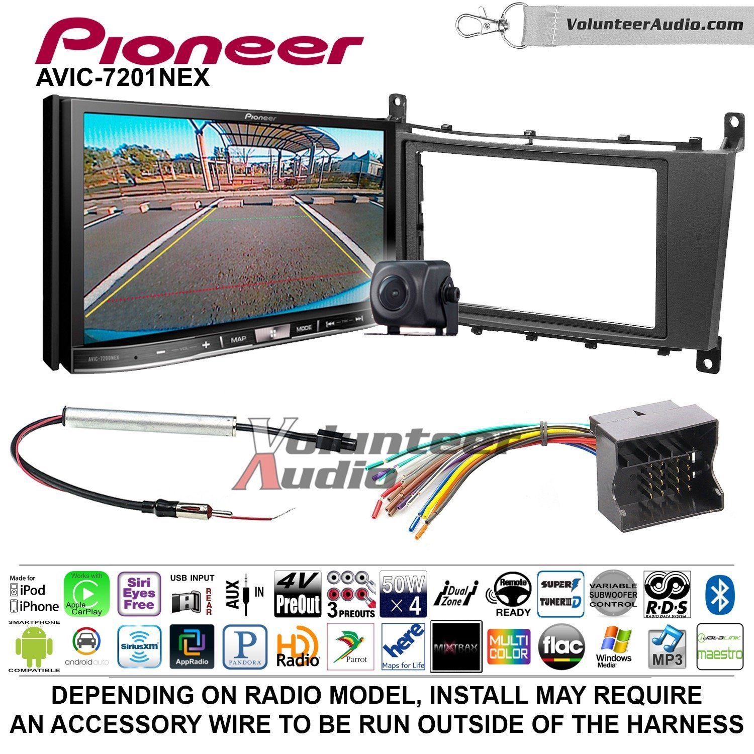 Pioneer AVIC-7201NEX Double Din Radio Install Kit with GPS Navigation Apple CarPlay Android Auto Fits 2005-2007 Mercedes C Series