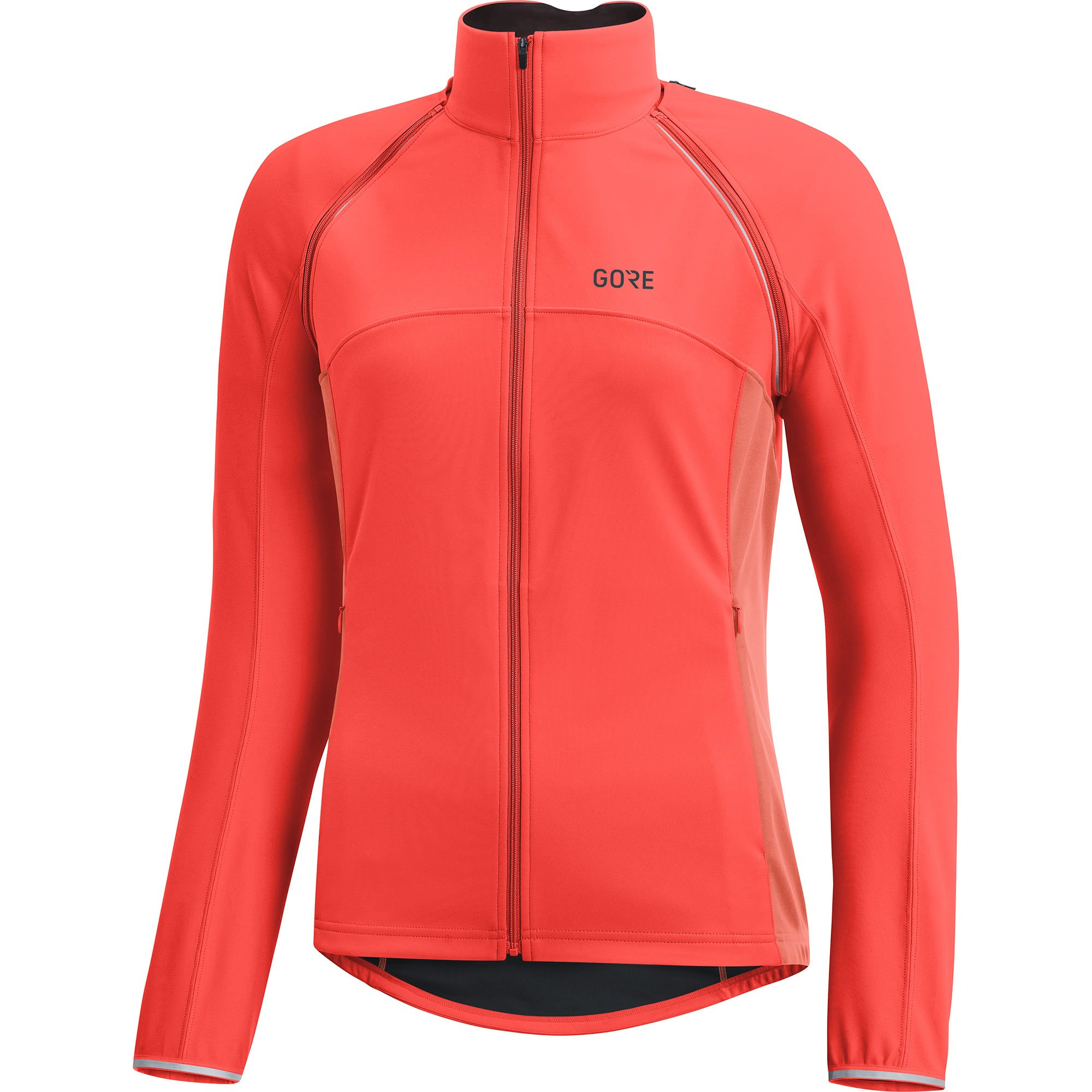 GORE Wear Women's Windproof Cycling Jacket, Removable Sleeves, GORE Wear C3 Women's GORE Wear WINDSTOPPER Phantom Zip-Off Jacket, Size: L, Color: Lumi Orange/Coral Glow, 100191