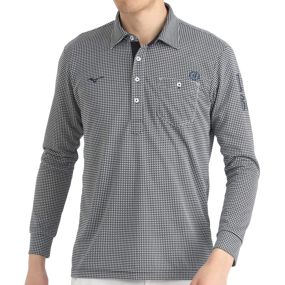 [ミズノ ゴルフ]長袖ポロシャツ メンズ B0797D3FVX 日本 XL (日本サイズXL相当)|ホワイト/ディープネイビー ホワイト/ディープネイビー 日本 XL (日本サイズXL相当)