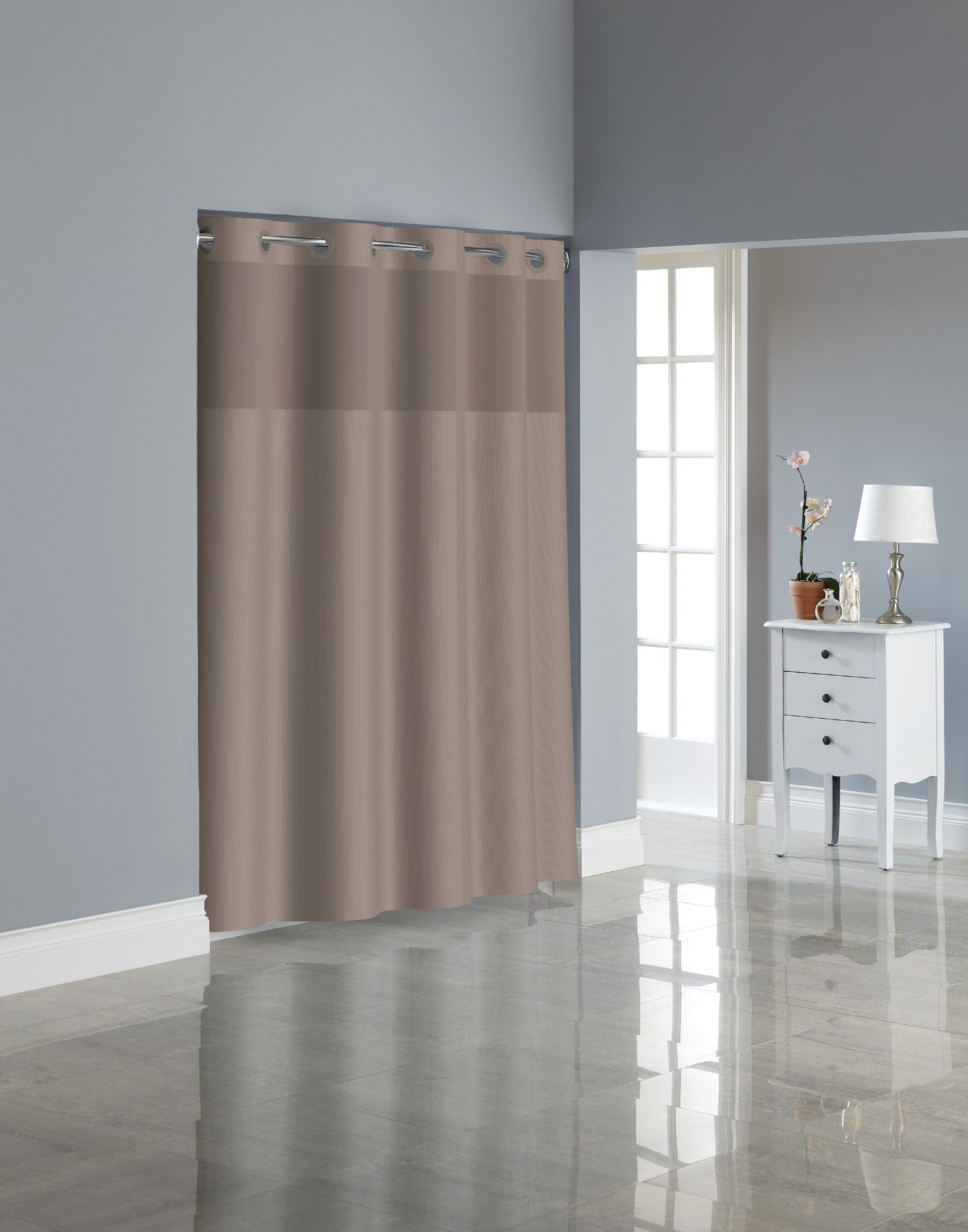 Hookless RBH80MY221 Fabric Shower Curtain with Built in PEVA Liner - Desert Taupe