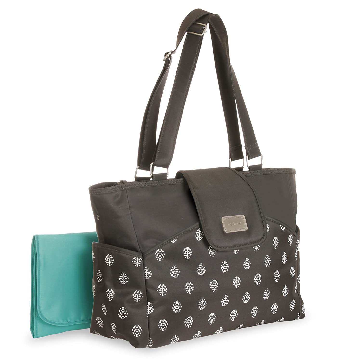 Carter's CA11317 Carry It All Tote Diaper Bag Grey Leaf Print, Black Carter' s