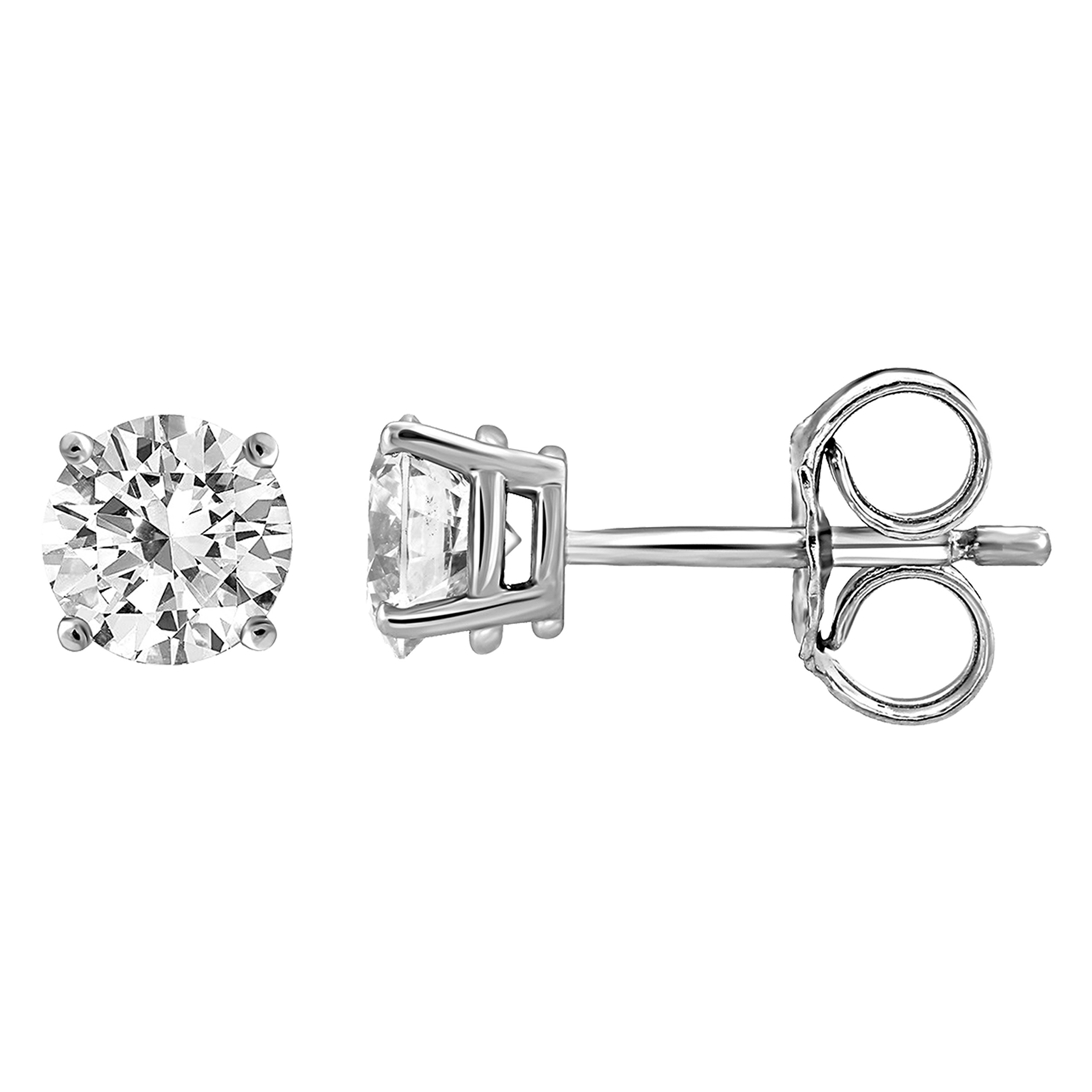 IGI Certified Diamond Stud Earrings for Women Set in 14K Gold(1/2 ctw white)