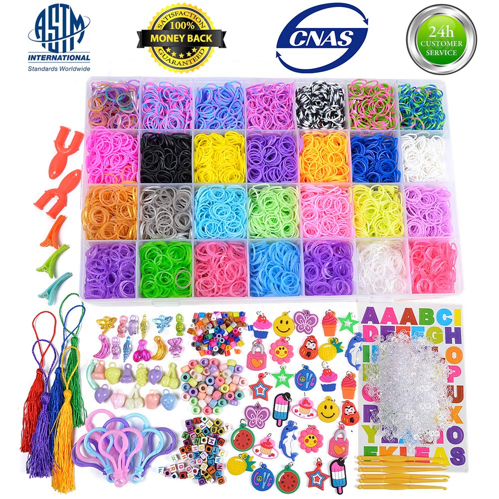 11900+ Rainbow Rubber Bands Refill Kit, Loom Rubber Bands for Kids Bracelet Making Craft - 11000+ Loom Bands in 28 Colors, 600 Clips, 210 Beads, 54 Charms, 10 Backpack Hook, 5 Tassels, 3 Hair Clips by VICOVI