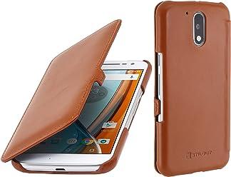 StilGut Book Type avec Clip, Housse en Cuir pour Motorola Moto G4   G4 Plus   Lenovo Moto G4. Etui de Protection de Cuir véritable à Ouverture latérale, Cognac