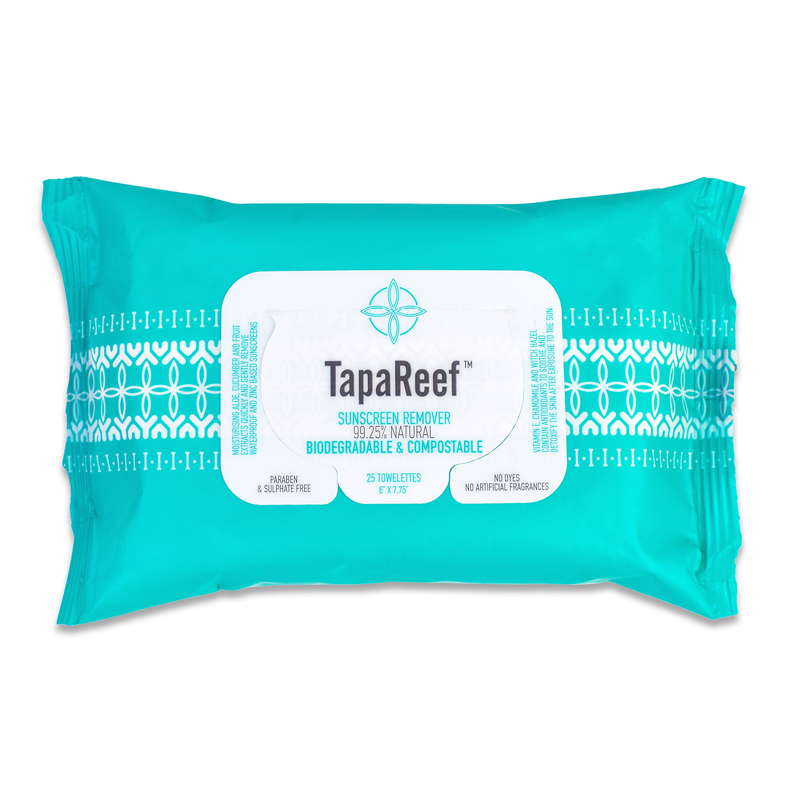 TapaReef Sunscreen Remover Wipes - 25 Count Pouch - 4 Pack