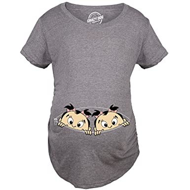 ea030840 Crazy Dog T-Shirts Maternity Peeking Twin Girls Tshirt Cute Adorable Pregnancy  Tee for Mom