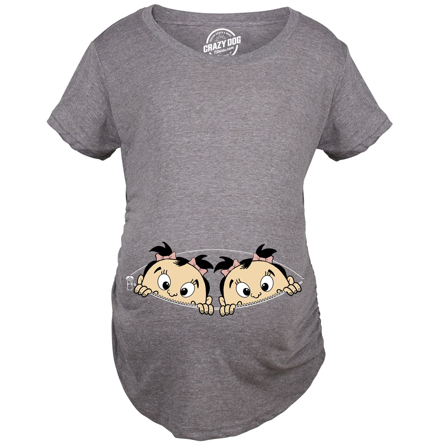 Crazy Dog T-Shirts Maternity Peeking Twin Girls Tshirt Cute Adorable Pregnancy Tee for Mom to Be -L