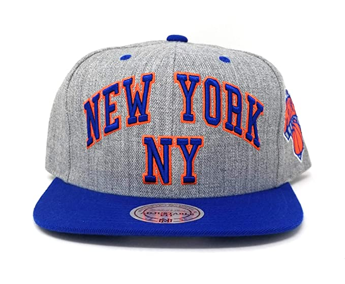 96d02eeb36c Image Unavailable. Image not available for. Color  Mitchell   Ness Men s  Grey Blue NBA New York Knicks Snapback Cap