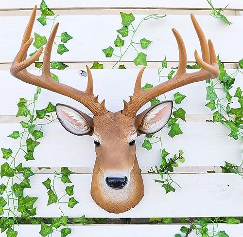 Ebros Rustic 12 Point Buck Trophy Taxidermy Wall Decor Deer Head