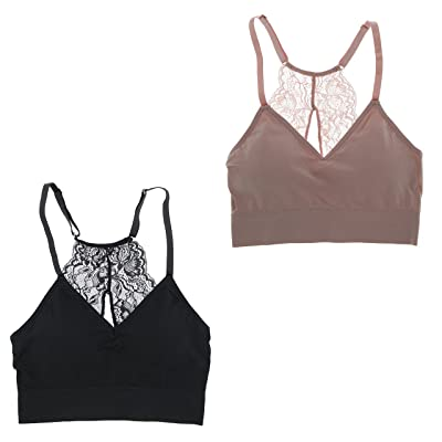 Marilyn Monroe Intimates Women's Sexy Bralette With Lacey Racer Back (2 Bras)