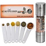 Salt and Pepper Grinder Set PLUS 6 Piece Measuring Spoon Set- Stainless Steel All In One Spice Mill with Ceramic Grinding perfect for Himalayan Salt & Peppercorns. by Monster Kitchen